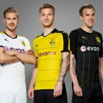 BVB Players Kirch, Reus and Grosskreutz in the new Home Shirt
