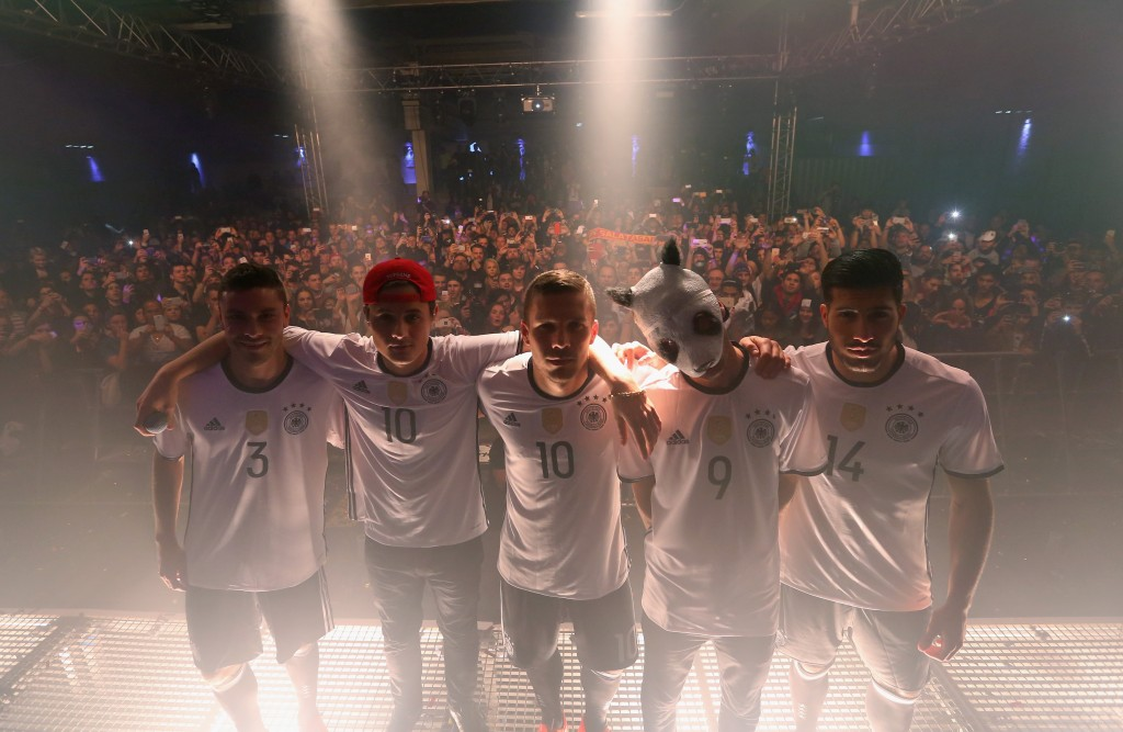 adidas launches new DFB home jersey for UEFA EURO 2016 with Lukas Podolski, Emre Can, Jonas Hector and Rapper Cro in the Football Base Berlin.