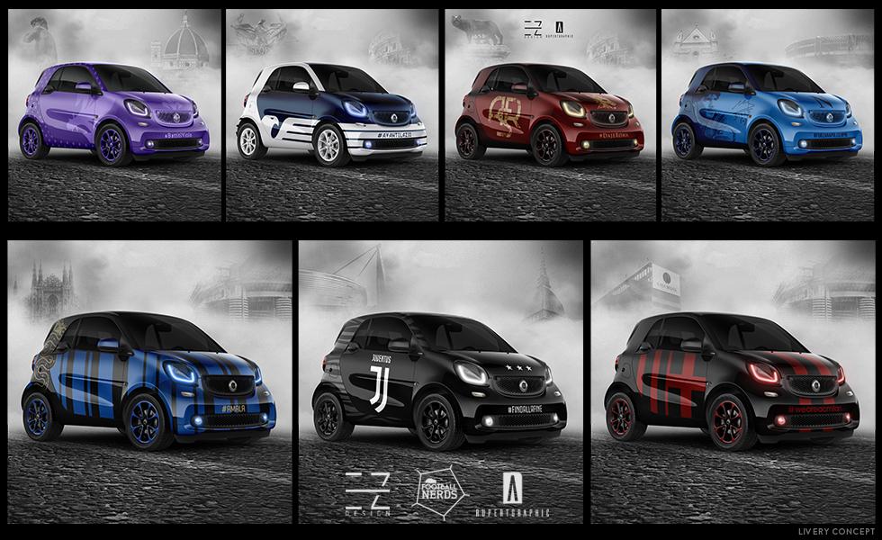 Le Smart della Serie A firmate da EZ Design e Rupertgraphic