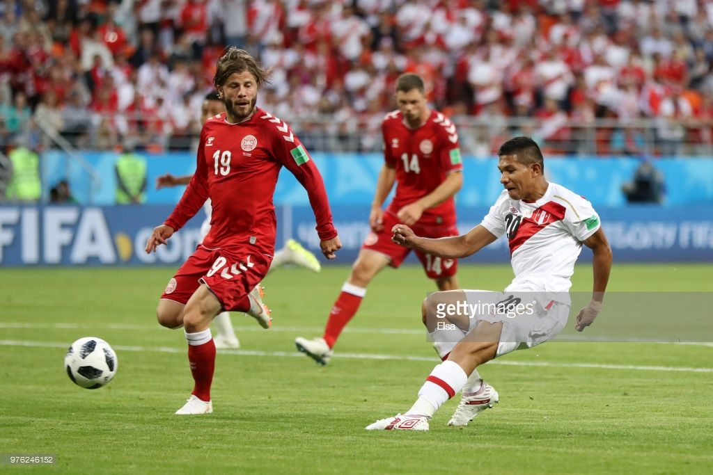 during the 2018 FIFA World Cup Russia group C match between Peru and Denmark at Mordovia Arena on June 16, 2018 in Saransk, Russia.