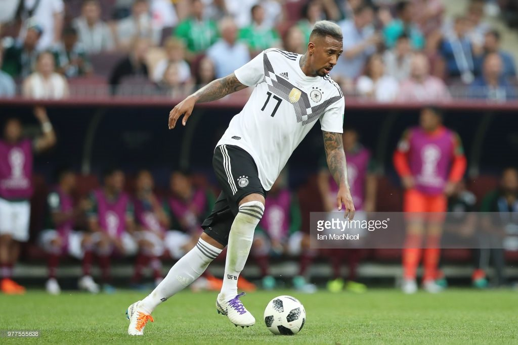 MOSCOW, RUSSIA - JUNE 17: Jerome Boateng of Germany controls the ball during the 2018 FIFA World Cup Russia group F match between Germany and Mexico at Luzhniki Stadium on June 17, 2018 in Moscow, Russia. (Photo by Ian MacNicol/Getty Images)